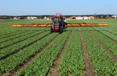 machinery spraying the bulb fields with pesticides
